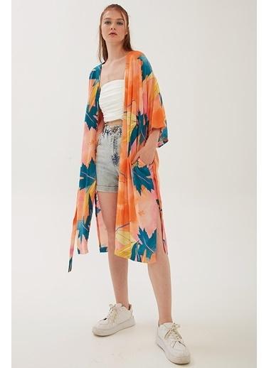 Modaset Cepli Uzun Desenli Kimono Turuncu Oranj